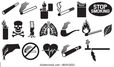 smoking icons set (native american peace pipe, cigarette butt, burning match stick, zippo lighter, cuban cigar, tobacco leaf)