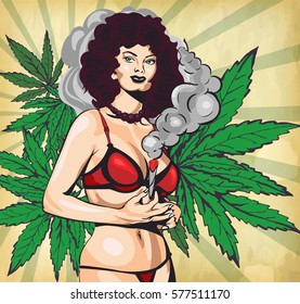 Smoking lady. The marijuana leafs on the background, vector image