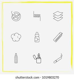 Smoking line icon set no smoking, vape juice and cotton