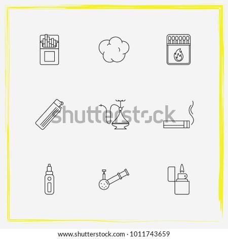 Smoking Line Icon Set Vape Mod Stock Vector (Royalty Free