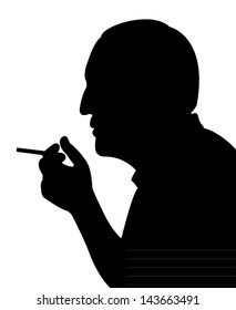 smoking man silhouette vector