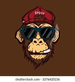 Smoking Monkey Mascot Logo