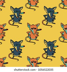 Smoking mouse seamless pattern. Original design for print or digital media.