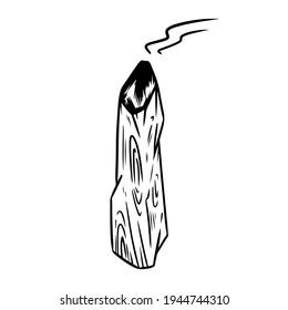 Smoking Palo Santo holy wood tree aroma stick. Burning incense element stock vector image. Rustic wooden stick isolated on white background