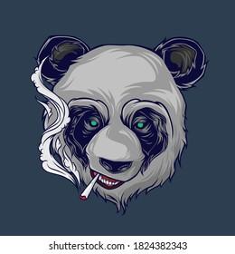 Smoking panda illustration. Canabis logo. Weed vector for shirt design. Eps 10