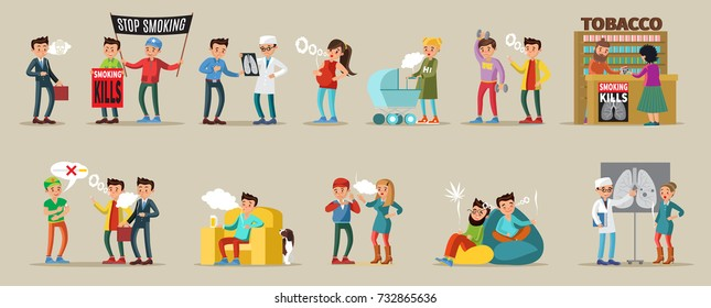 Smoking people collection of men and women with cigarettes in different situations tobacco shop doctor visit isolated vector illustration