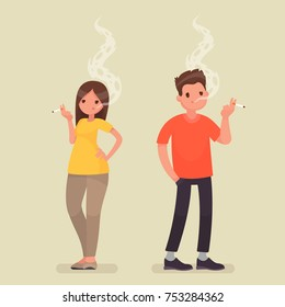 Smoking people. Man and woman with a cigarette on isolated background. Vector illustration in a flat style