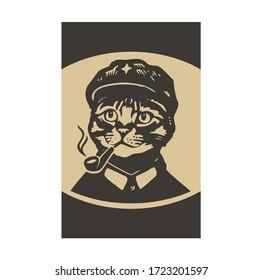 Smoking pipe cat cartoon face cool character