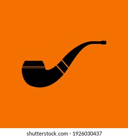 Smoking Pipe Icon. Black on Orange Background. Vector Illustration.
