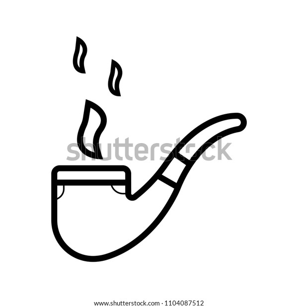 smoking pipe outline icon illustration isolated vector sign symbol