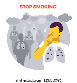 Smoking in public place. Secondhand smoke. Illness risk. Stop smoking. World no tobacco day. Air pollution. Infographic. Vector illustration. Healthcare poster, placard or banner template.