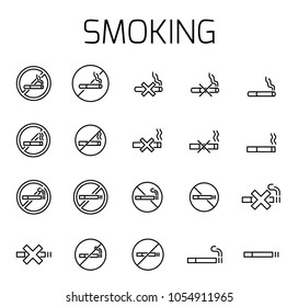 Smoking related vector icon set. Well-crafted sign in thin line style with editable stroke. Vector symbols isolated on a white background. Simple pictograms.