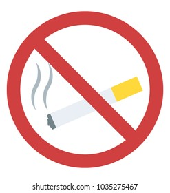 Smoking restricted sign flat icon