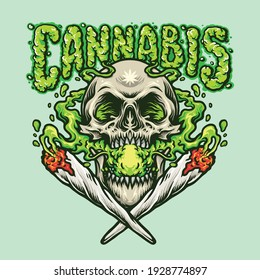 Smoking Skull Cannabis Joint illustrations for your work Logo, mascot merchandise t-shirt, stickers and Label designs, poster, greeting cards advertising business company or brands.