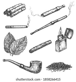 Smoking, snuff and chewing tobacco hand drawn sketch set. Engraved cigar, cigarette, cigarillo in paper roll, smoking pipe, tobacco leaf and powder vector illustration isolated on white background
