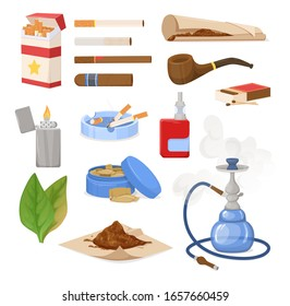 Smoking tobacco, bad habits set. Tobacco hookah, vape with smoke steam. Cigars, cigarettes, cigarillos, rolls in paper. Snuff, chewing tobacco powder, nicotine, tobacco leaves. Cigarette harm vector