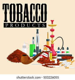 Smoking tobacco products icons set with cigarettes hookah cigars lighter isolated vector illustration