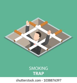 Smoking trap flat isometric vector concept. Man has got into a pit with a grid made of cigarettes and asking for help.