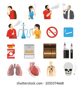 Smoking vaping shisha hookah products accessories ban signs and health risks flat icons collection isolated vector illustration