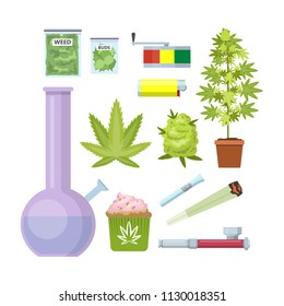 Smoking weed equipment. Bong, marijuana, pipe and others. Beautiful flat icon set. Isolated vector illustration