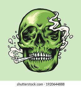 Smoking weed Green Skull Hand Drawn illustrations for your work Logo, mascot merchandise t-shirt, stickers and Label designs, poster, greeting cards advertising business company or brands.