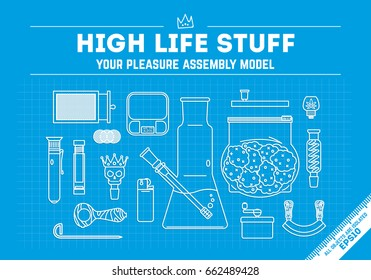 """Smoking weed theme, vector illustration, poster . """"High life stuff"""" series. 16 different objects. line art style. isolated objects. EPS 10."""