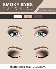 Smoky eyes makeup tutorial, vector fashion template