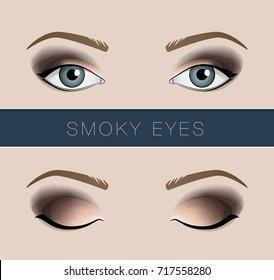 Smoky eyes makeup vector fashion template