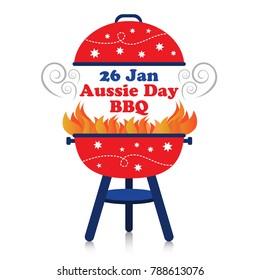 Smoky fiery BBQ grill with 26 January Australia Day design.