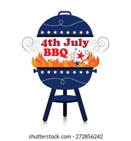Smoky fiery BBQ grill with 4th July American Independence Day design.