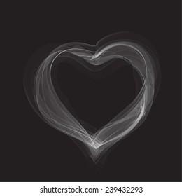 Smoky heart shape on the black background