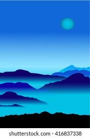 Smoky mountains at night