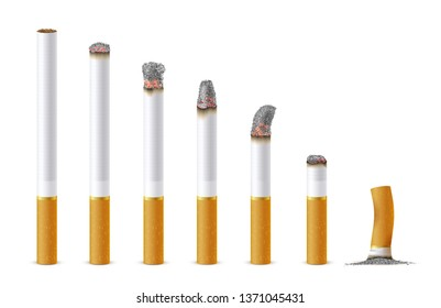 Smoldering cigarette in a line set, realistic style. Cigarette in burn. Vector flat style cartoon illustration isolated on white background