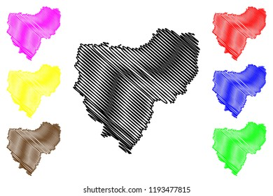 Smolensk Oblast (Russia, Subjects of the Russian Federation, Oblasts of Russia) map vector illustration, scribble sketch Smolensk Oblast map