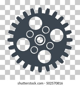 Smooth Blue Cogwheel interface toolbar pictogram. Vector pictograph style is a flat symbol on chess transparent background.