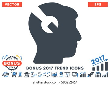 Smooth Blue Head Surgery Wrench pictograph with bonus 2017 year trend images. Vector illustration style is flat iconic bicolor symbols, white background.