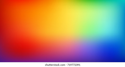 Smooth and blurry colorful gradient mesh background. Vector illustration with bright rainbow colors. Easy editable soft colored vector banner template. Premium quality.