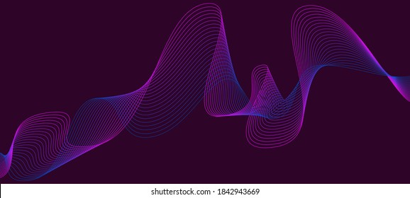 Smooth, bright lines in space. New abstract background. 3d