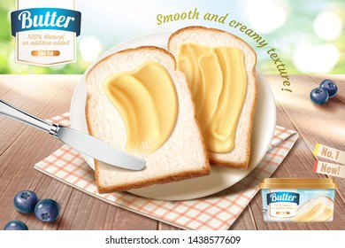 Smooth butter ads on toast in 3d illustration, wooden table and bokeh nature background
