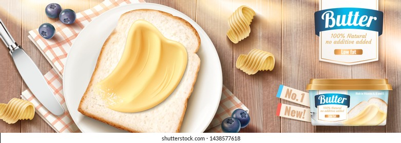 Smooth butter banner ads on toast in 3d illustration, wooden table background