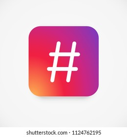 Smooth color gradient icon template hashtag for social media Instagram. Vector illustration. EPS 10