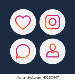 Smooth color gradient line icon template set inspried by instagram new logo. Vector illustration icons set for your social media app design project and more.