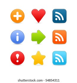 Smooth color set web 2.0 internet button with shadow on white background