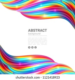 Smooth colorful waves. Abstract background with space for text. Vector Illustration