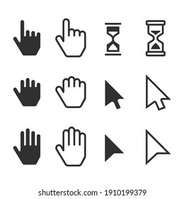 Smooth cursors icons mouse hand arrow hourglass. Computer Mouse Cursor symbol set. Vector illustration EPS 10.