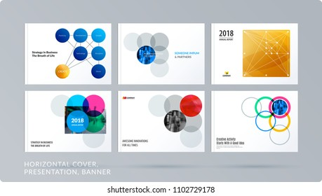 Smooth design presentation template with colourful round shapes. Partnership collaboration