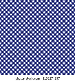Smooth Diagonal Gingham Seamless Pattern - Smooth diagonal navy blue and white classic gingham texture