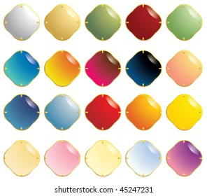 Smooth gemstones with gold fastener - vector version