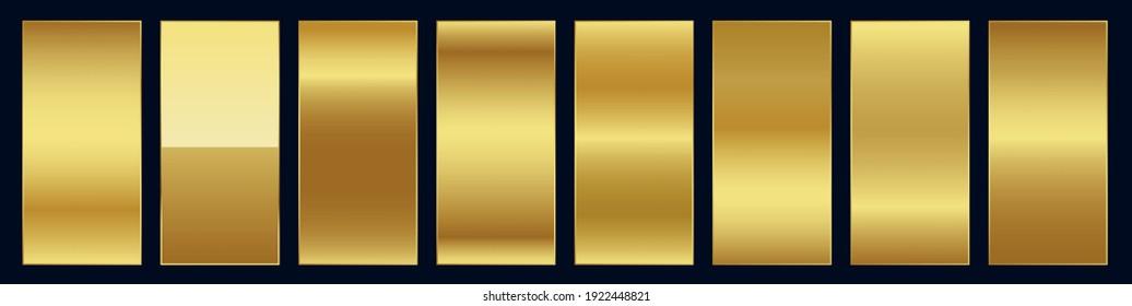 Smooth golden premium gradient swatch palette set