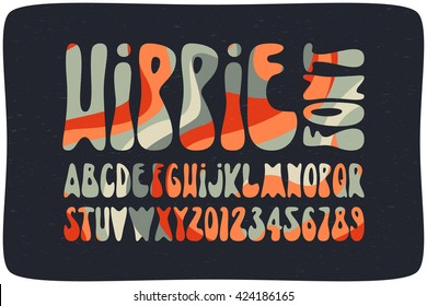 Smooth hippie font filled with wavy psychedelic seamless pattern. Vintage rounded alphabet.